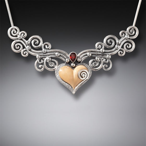 FOSSILIZED WALRUS TUSK IVORY HEART NECKLACE WITH GARNET, HANDMADE SILVER - HEART SONG III