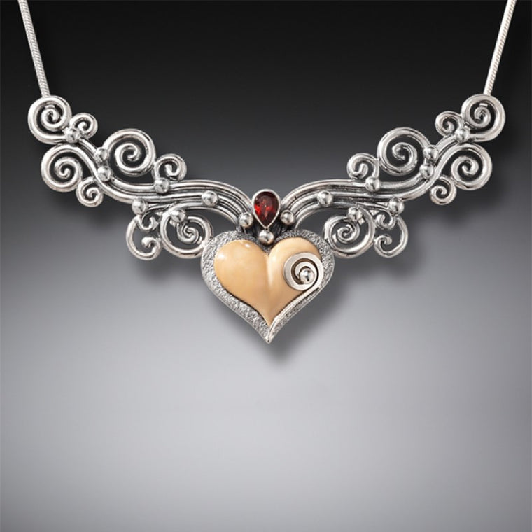 """Heart Song III"" Ancient Fossilized Walrus Tusk and Garnet Sterling Silver Necklace"
