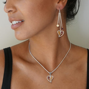 """Heart Song Dangles"" Fossilized Walrus Tusk and Garnet Sterling Silver Earrings"