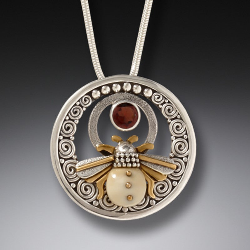 FOSSILIZED WALRUS IVORY SILVER HONEY BEE NECKLACE WITH GARNET - BEE INSPIRED