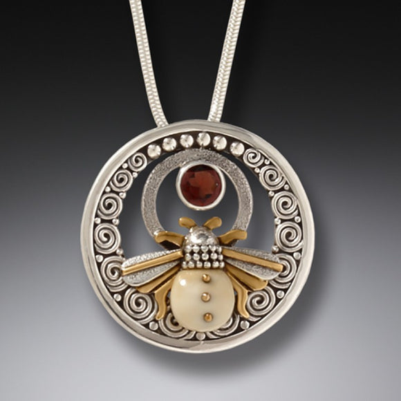 """Bee Inspired"" Ancient Fossilized Walrus Tusk and Garnet Sterling Silver Pendant"