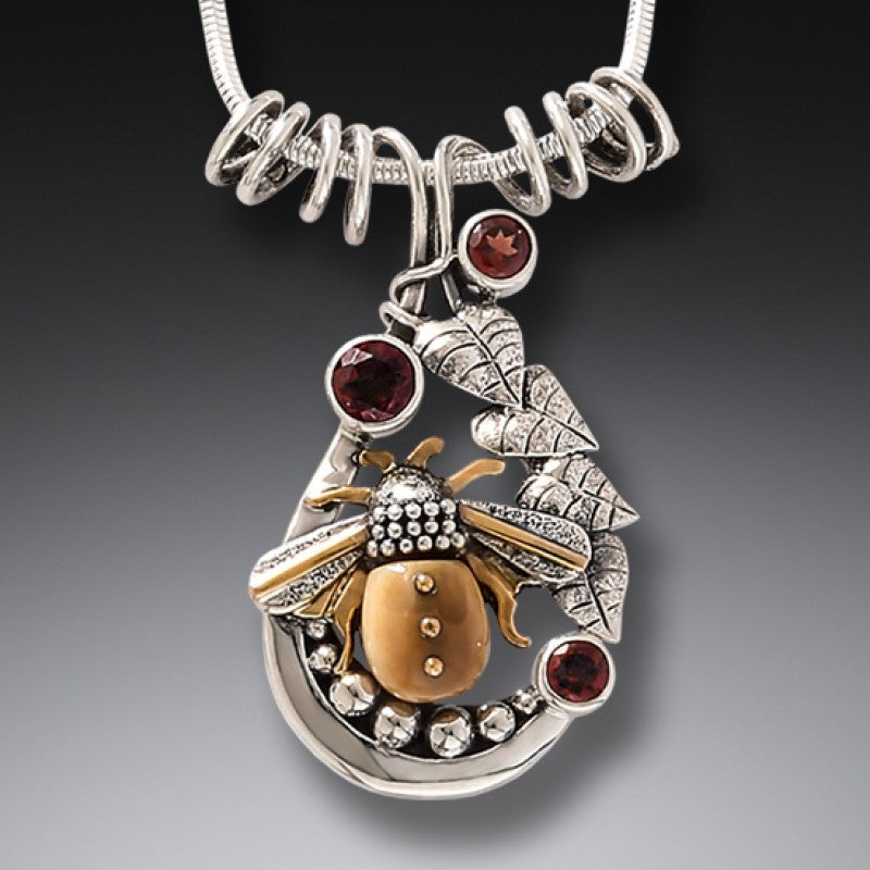 """Glory Bee"" Ancient Fossilized Mammoth Tusk Ivory, Garnet, and Sterling Silver Pendant"