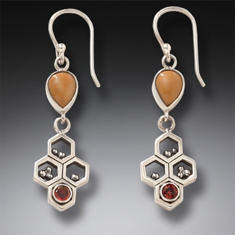 """Honeycomb"" Ancient Fossilized Walrus Tusk Ivory and Garnet Silver Earrings"