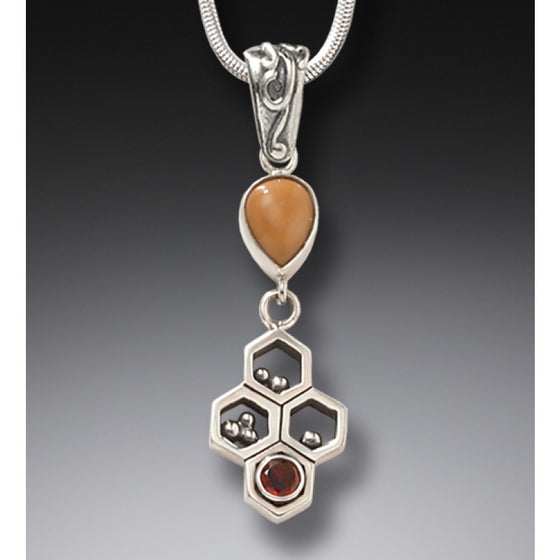 RED GARNET AND FOSSILIZED WALRUS IVORY NECKLACE – HONEYCOMB