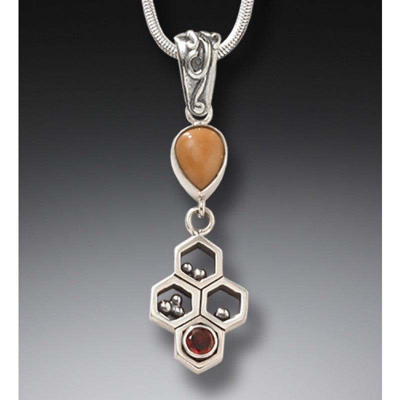 """Honeycomb"" Ancient Fossilized Mammoth Ivory Tusk and Garnet Silver Pendant"