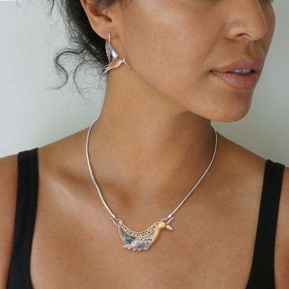 """Firebird"" Ancient Fossilized Walrus Tusk Ivory and Paua Silver and 14kt Gold Fill Necklace, 14kt Gold Fill, Handmade Silver"
