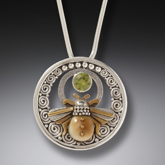 """Bee Inspired"" Ancient Fossilized Mammoth Tusk Sterling Silver Bee with Peridot Pendant"