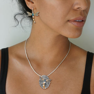 """Winged Curents"" Ancient Fossilized Tusk Ivory and Paua and 14kt Gold Fill Silver Dragonfly Pin or Pendant"