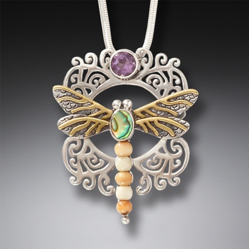 """Garden Visitor"" Fossilized Walrus Tusk, Amethyst, Paua Shell and Sterling Silver Pendant"