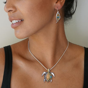 """Jeweled Turtle"" Ancient Fossilized Walrus Ivory Tusk, Blue Topaz, 14KT Gold Fill and Sterling Silver Pin or Pendant"