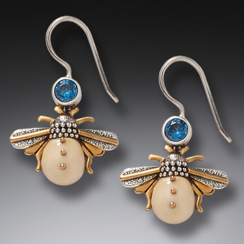 """Bees"" Ancient Fossilized Walrus Tusk Ivory and Blue Topaz Silver Earrings"
