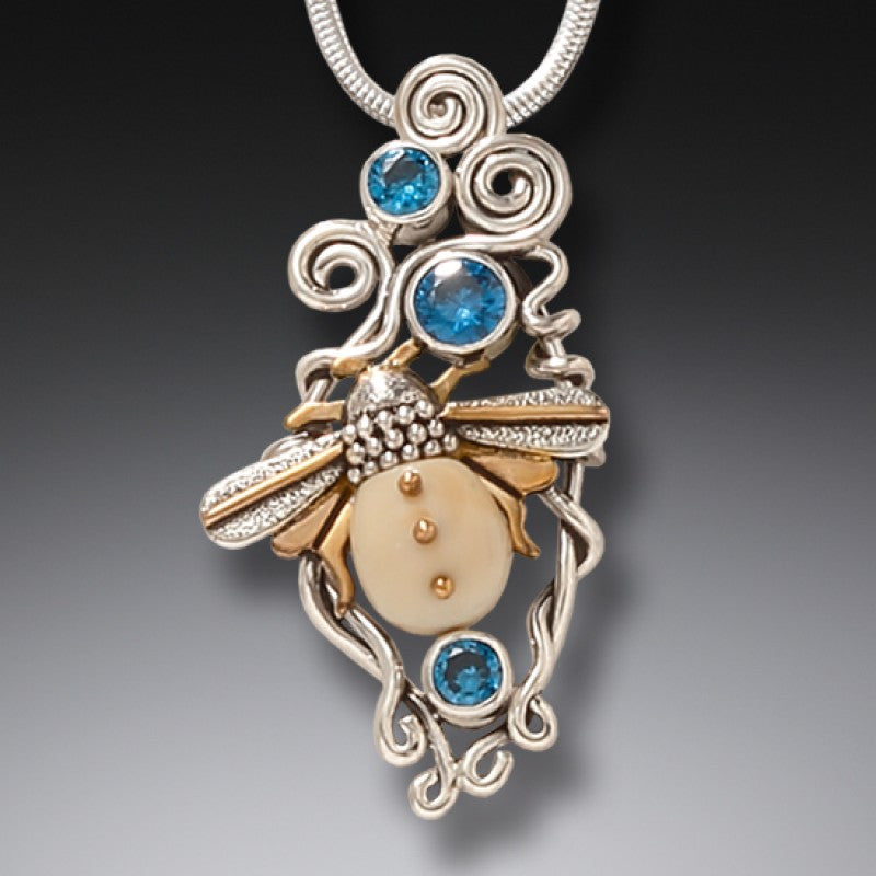"""Morning Bee"" Ancient Fossilized Mammoth Tusk and Blue Topaz Sterling Silver Pendant"