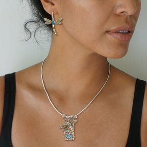 """Dragonfly"" Ancient Fossilized Walrus Tusk Ivory, Blue Topaz and Paua Silver Pendant"