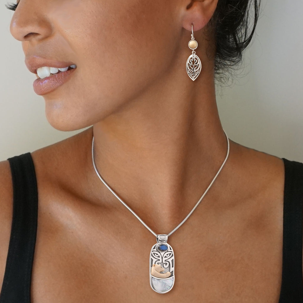 """Totem Bear"" Ancient Mammoth Tusk Ivory, Labradorite and Mother of Pearl Polar Bear Pendant"