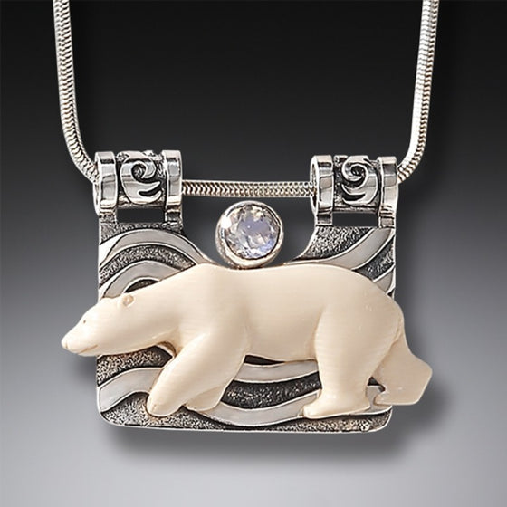 """The Seeker"" Fossilized Mammoth Tusk and Rainbow Moonstone Sterling Silver Pendant"