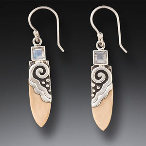 """ Life Force"" Fossilized Walrus Ivory and Moonstone Sterling Silver Earrings"