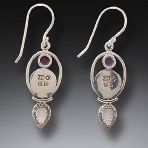 ANCIENT IVORY, AMETHYST, MOONSTONE EARRINGS- FINDING BALANCE