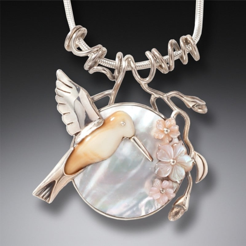 """After the Rain"" Fossilized Walrus Tusk and Mother of Pearl Sterling Silver Pendant"