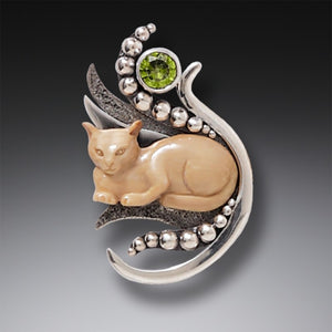 """Cat in the Grass"" Ancient Fossilized Walrus Tusk Ivory, Peridot Silver Pin of Pendant"