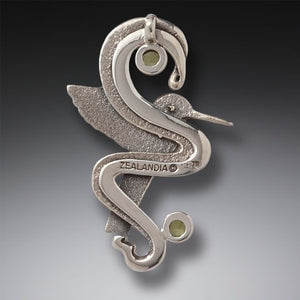 FOSSILIZED WALRUS TUSK HUMMINGBIRD NECKLACE SILVER WITH PERIDOT, HANDMADE SILVER - HUMMINGBIRD FLIGHT