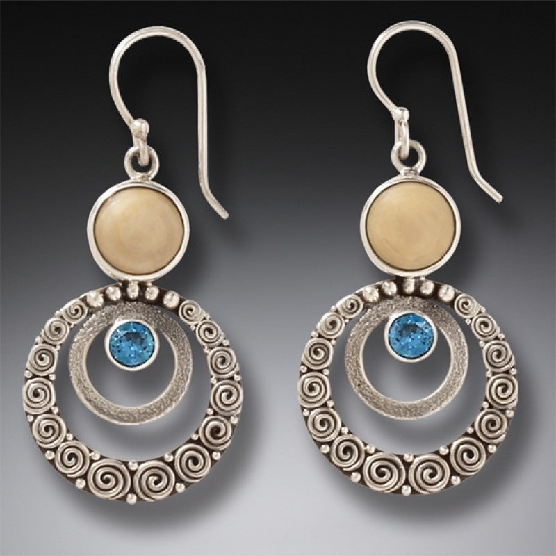 """Ripples"" Fossilized Walrus Ivory and Blue Topaz Sterling Silver Earrings"