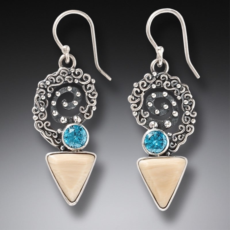 """Winds of Change"" Fossilized Mammoth Ivory and Blue Topaz Sterling Silver Earrings"