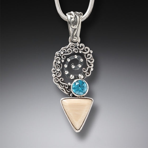 """Winds of Change"" Ancient Fossilized Mammoth Tusk and Blue Topaz Sterling Silver Pendant"