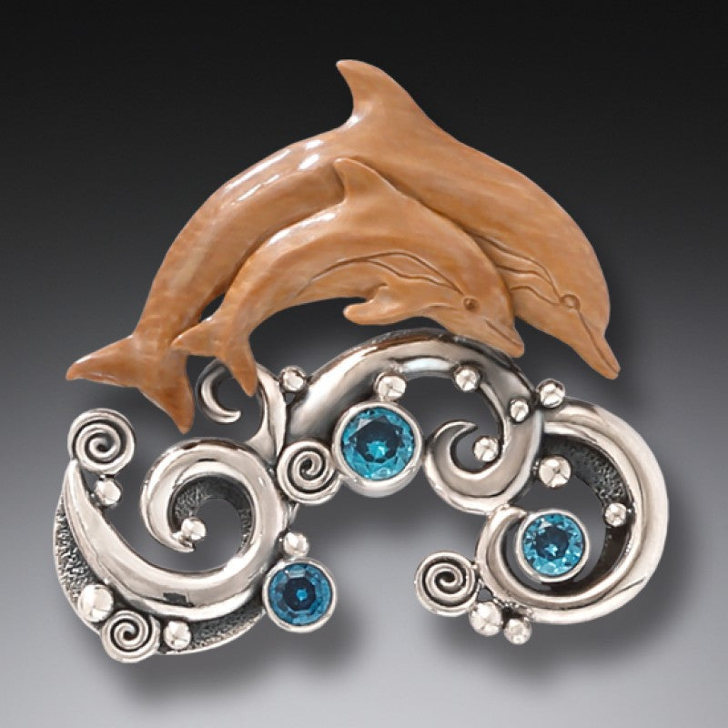 """Two Dolphins"" Ancient Fossilized Mammoth Tusk Ivory and Blue Topaz Silver Pin or Pendant"
