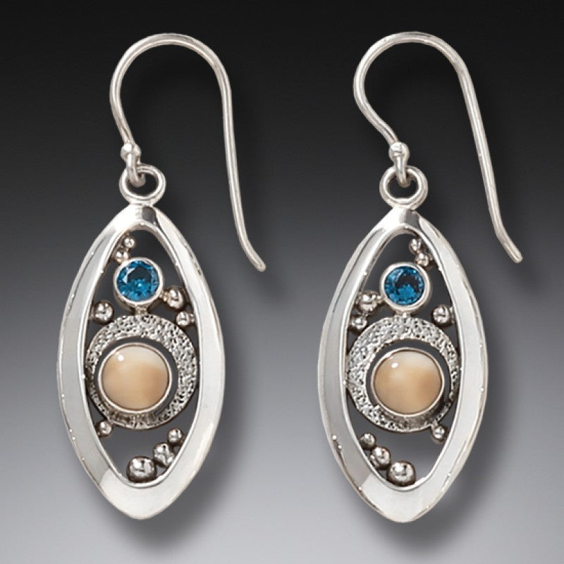 BLUE TOPAZ AND FOSSILIZED WALRUS IVORY EARRINGS – MICROCOSM