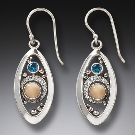"""Microcosm"" Ancient Fossilized Walrus Tusk Blue Topaz and Sterling Silver Earrings"