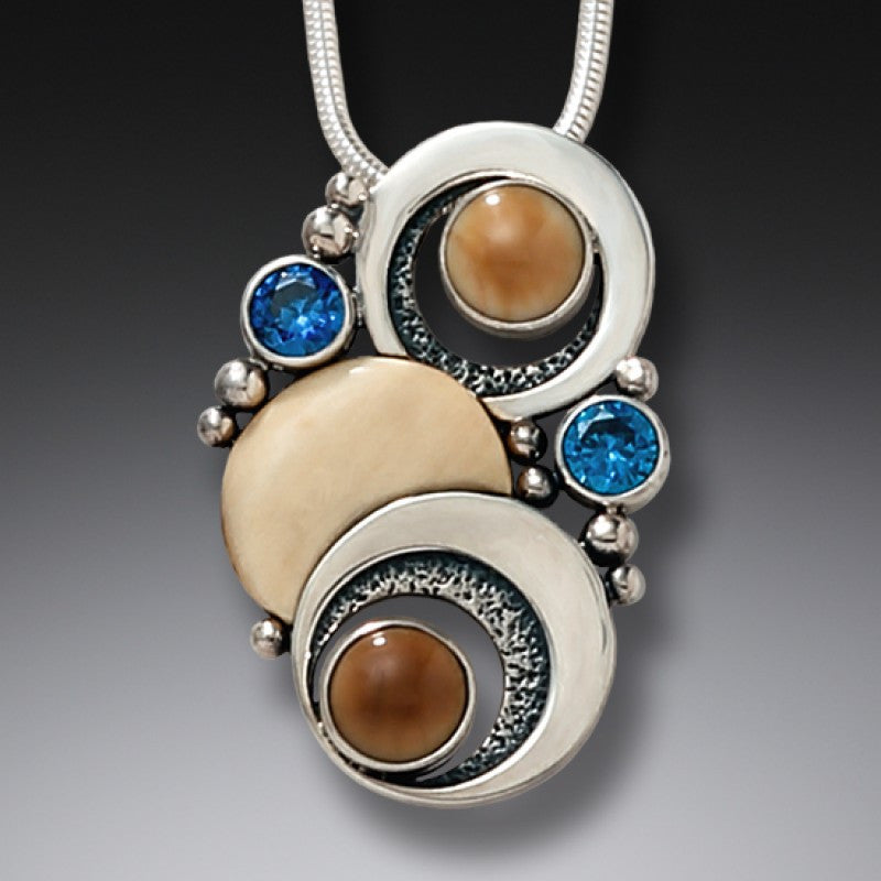 """Double Eclipse"" Ancient Fossilized Walrus Tusk and Blue Topaz Sterling Silver"