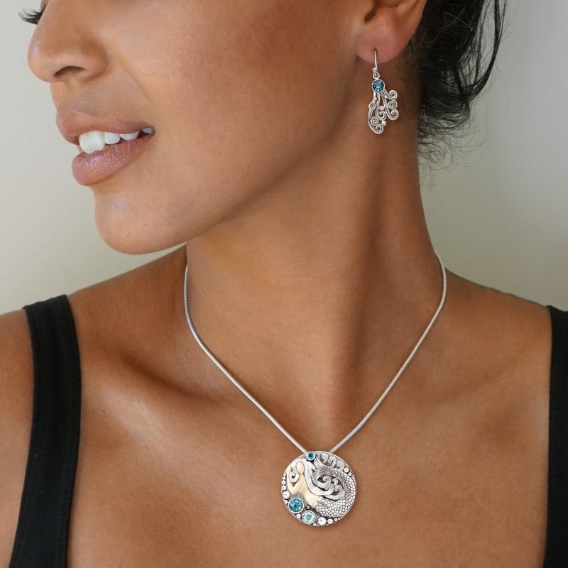 """Mermaid Medallion"" Ancient Mammoth Tusk, Blue Topaz and Rainbow Moonstone Silver Pin or Pendant"
