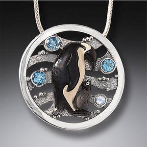 Fossilized Mammoth Tusk , Blue Topaz, Sterling Silver Emperor Penguin Necklace