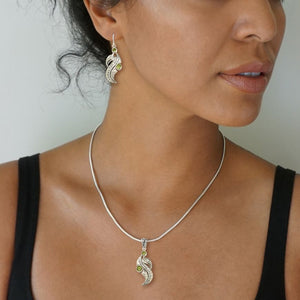 """PERIDOT LEAF"" SILVER AND PERIDOT LEAF PENDANT"