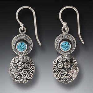 """Dew Drop"" Blue Topaz Sterling Silver Earrings"