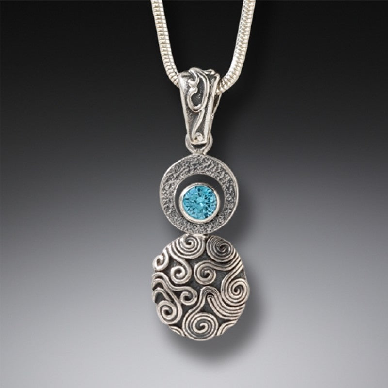 """Dew Drop"" Blue Topaz Sterling Silver Pendant"