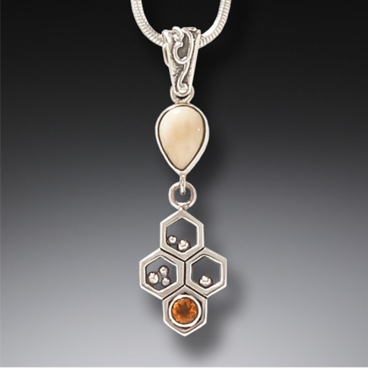 """Honeycomb"" Ancient Fossilized Mammoth Tusk Ivory and Citrine Pendant"