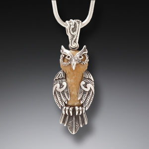 FOSSILIZED WALRUS IVORY AND SILVER OWL PENDANT – WISE ONE