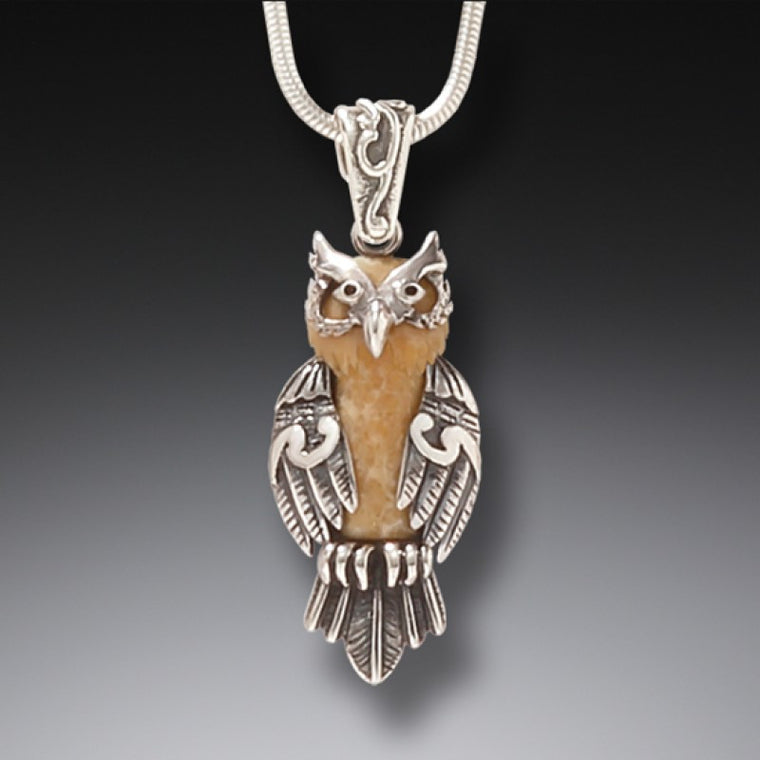 """Wise One"" Fossilized Mammoth Tusk and Sterling Silver Pendant"