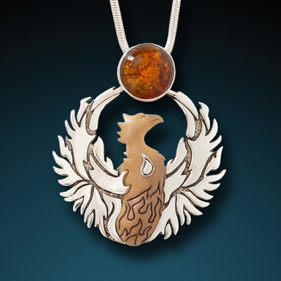 """Phoenix Rising"" Fossilized Walrus Tusk, Amber and Sterling Silver Pendant"