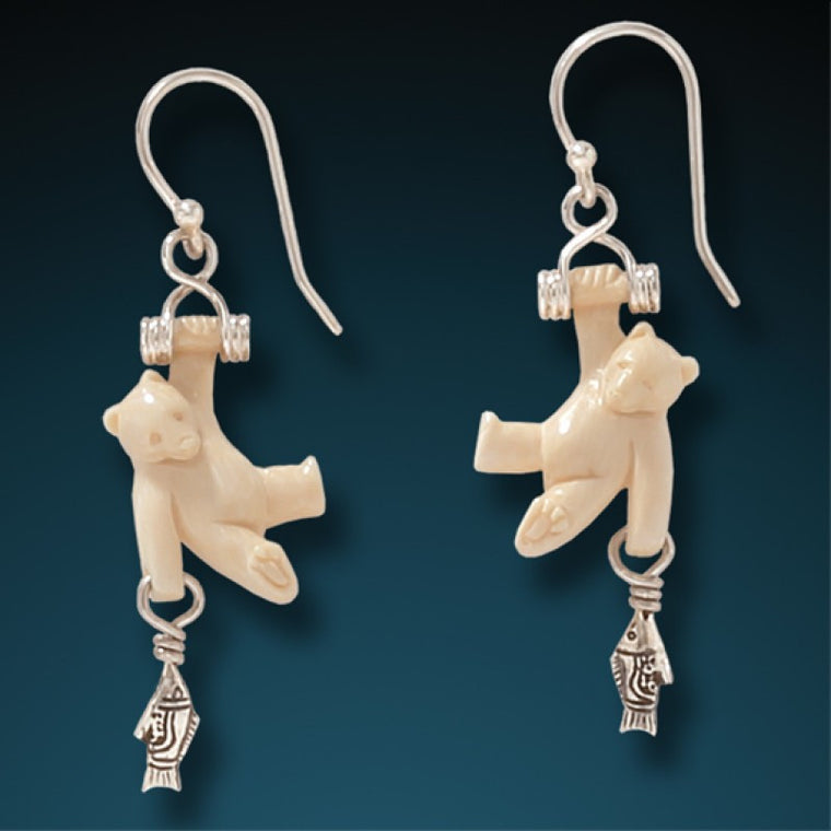 """First Catch"" Ancient Fossilized Mammoth Tusk and Sterling Silver Earrings"