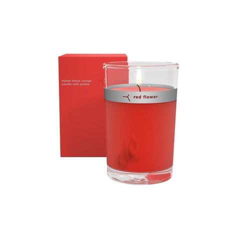 Red Flower Petal Topped Candle Italian Blood Orange