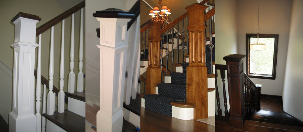 Custom Traditional Colonial Box Newel Style Options - Deep Recessed / Upper Flat Panels / Square Belltop / Large Raised-Panel / Double Recessed-Panel