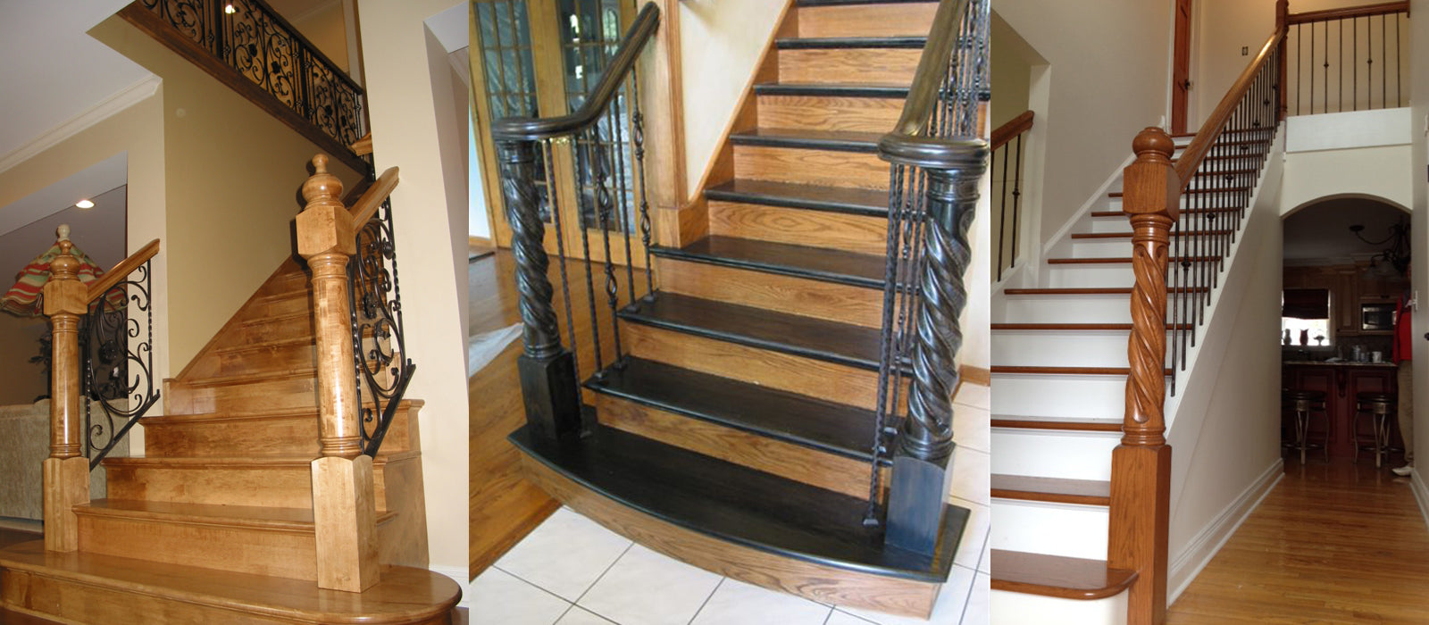 Custom Trophy Style Newels with Wrought Iron Metal Balustrades