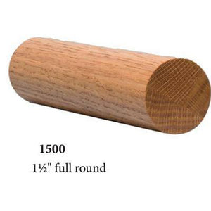 "Wood Railings | Banister | 1500 1 1/2"" Round Solid Wall Rail-Wall Rails & Wall Rail Fittings-Amish Craft by StepUP Stair Parts"