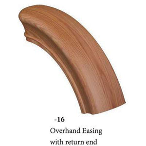 Wood Railings | Banister | 7916 Overhand Easing with 1 Return End Handrail Fitting-Handrails & Handrail Fittings-Amish Crafted by StepUP Stair Parts