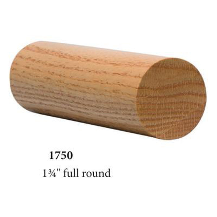 "Wood Railings | Banister | 1750 1 3/4"" Round Solid Wall Rail"