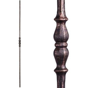 Metal Railing | Wrought Iron Spindle | 2.1.5 Tuscan Round Hammered Single Long Knuckle | Iron Balusters