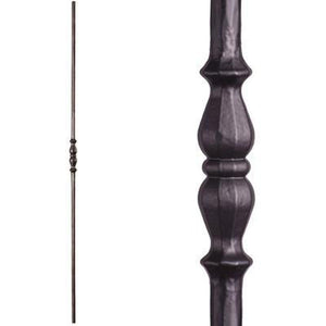 Metal Railing | Wrought Iron Spindle | 2.1.5 Tuscan Round Hammered Single Long Knuckle Satin Black| Iron Balusters