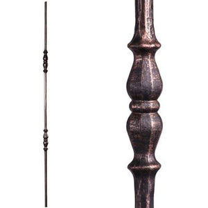 Metal Railing | Wrought Iron Spindle | 2.1.7 Tuscan Round Hammered Double Long Knuckle | Iron Balusters